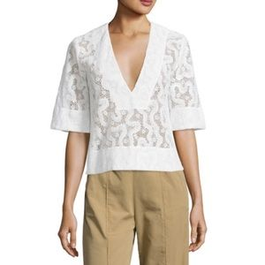A.L.C Virginia Cropped Abstract Lace V Neck Top